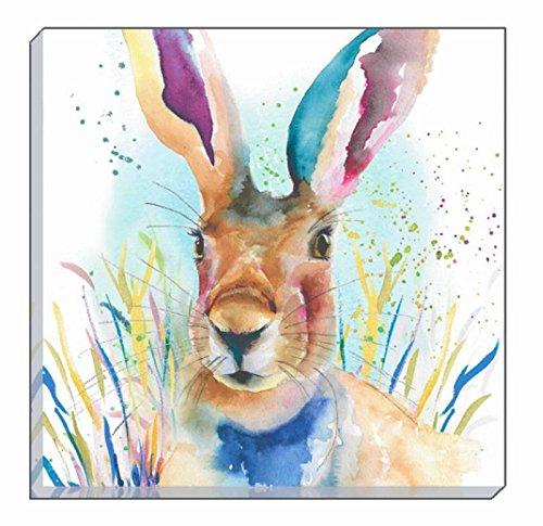 - ARTISTIC ANIMALS COLOURFUL PORTRAIT HARE EVANS LICHFIELD CANVAS WALL ART PICTURE 40CM