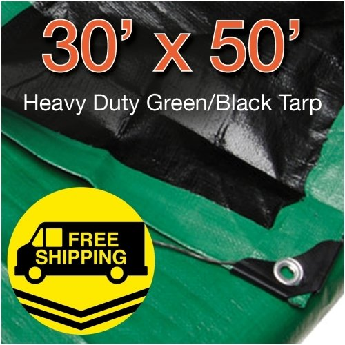 30' x 50' Heavy Duty Green/Black Reversible 10 Mil Poly Tarp