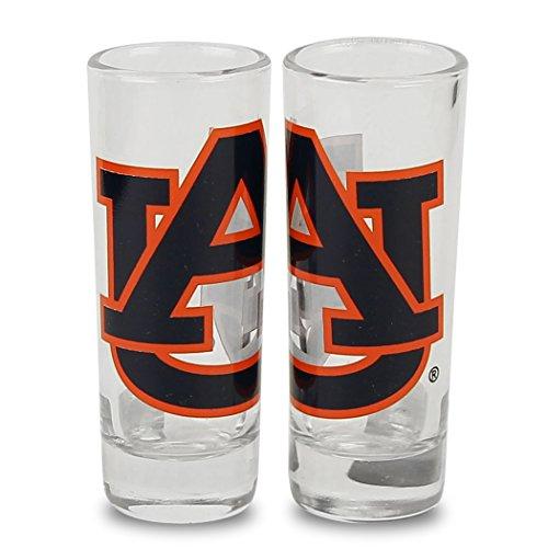 NCAA Color Team Logo 2oz Cordial Shot Glass 2-Pack (Auburn - Glass Auburn Tigers