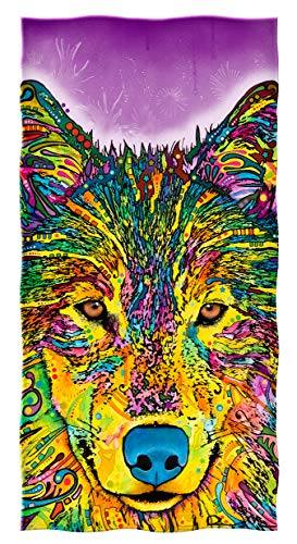 Dawhud Direct Cotton Beach Towel by Dean Russo (Wolf) by Dawhud Direct