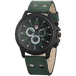 Shalleen Green Military Leather Waterproof Date Quartz Analog Army Men's Quartz Wrist Watches
