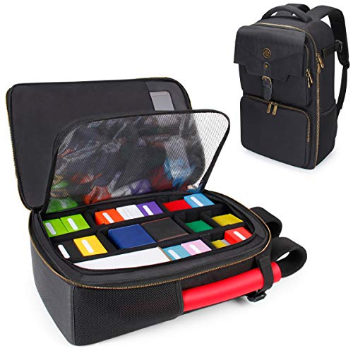 ENHANCE MTG Backpack Playing Card Case - Card Game Backpack Card Holder for Deck Boxes, Sleeved Cards, Large Playmats, and Other Gaming Accessories - Reinforced Padded Design Adjustable Dividers