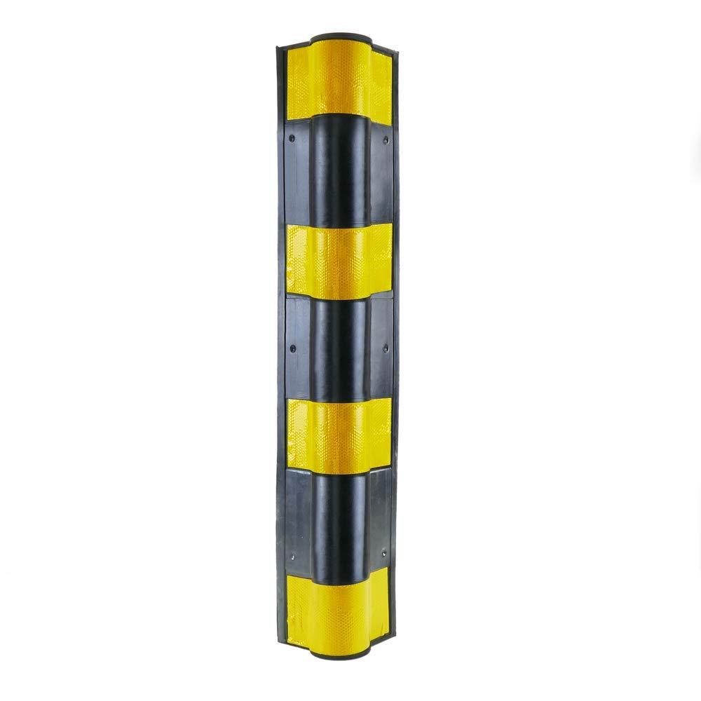 PrimeMatik Composici/ón de goma con reflectores para parking Protector de esquina para coche 79,5cm 2-pack