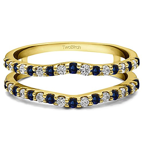14k Gold Double Shared Prong Curved Ring Guard with Diamonds and Sapphire (0.24 ct. twt.)