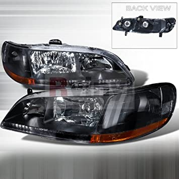 Amazon Com Honda Accord 1998 1999 2000 2001 2002 Euro Headlights Black Automotive