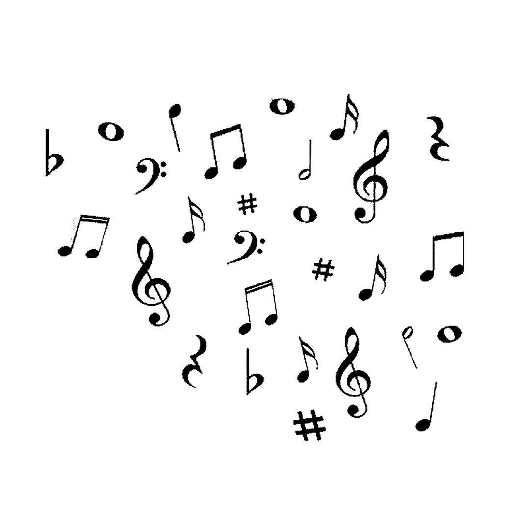JUSTDOLIFE Nota Musical Pegatinas Creativo Extraíble Tatuajes De ...