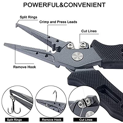 PLUSINNO Fishing Pliers Stainless Steel Mix with Titanium Carbo-Nitride Coating Hook Removers, Braid Cutters Saltwater Split Ring Fishing Multi-Tools with Sheath and Lanyard