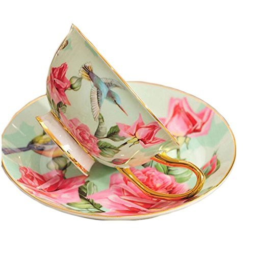 ufengke European Royal Court Tea Cup, Upscale Bone China Coffee Cups Set With Saucer, Flower And Bird Painting, Green ()