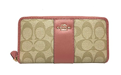 COACH ACCORDION ZIP WALLET IN SIGNATURE F54630 (Lt Khaki/Vintage Pink)