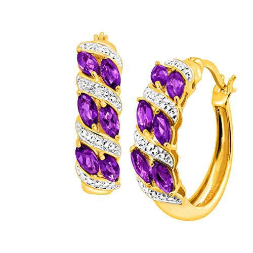18K Gold Flashed & Sterling Silver-Plated Brass 1 1/2 ct Natural Amethyst Hoop Earrings with - Jewelry Gold Amethyst Set