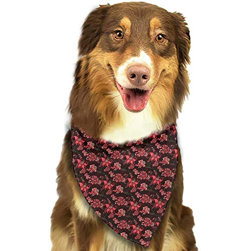 (Creative Family pet Scarf Romantic Paisley with Nostalgic Oriental Inspirations Blooming Valentines Day Love Bouquet W27.5 xL12 Scarf for Small and Medium Dogs and Cats )