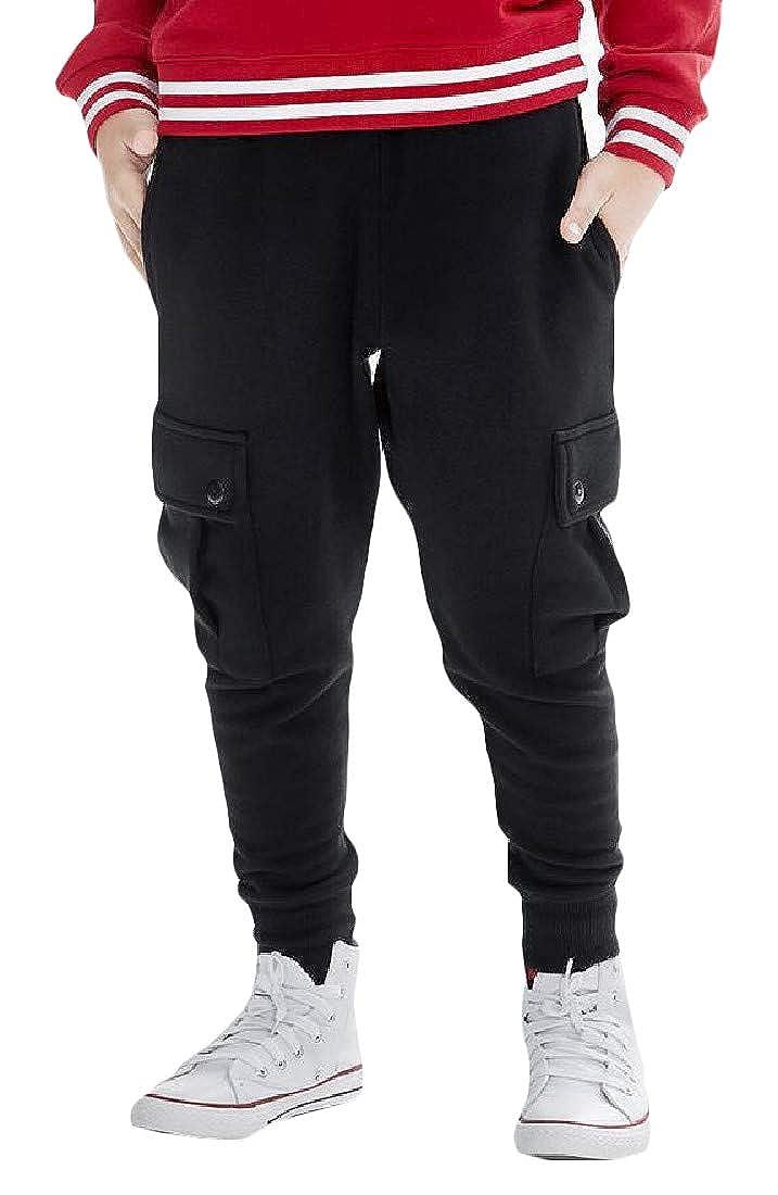 Cromoncent Big Boys Athletic Jogging Cargo Fleece Casual Multi Pockets Pants