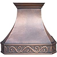 Copper Best H3 302127L Copper Range Hood, 30 inch Handcrafted with Hood Inserts