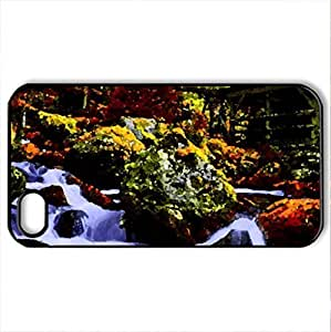 AUTUMN CREEK & WATER MILL - Case Cover for iPhone 4 and 4s (Watercolor style, Black)