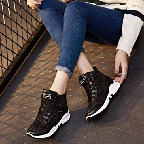 Sneakers Casual Alte In Pelle Con Tacco Alto Da Donna, Sneakers Sportive Nere