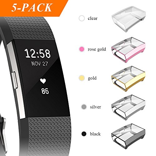 Fibit Charge 2 Screen Protector, iHYQ Slim Soft Full Cover Case for Fitbit Charge 2 Smart Watch (5pack) by iHYQ