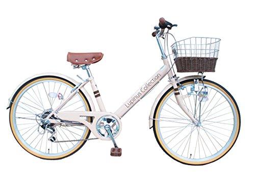 Lupinusルピナス 自転車 24インチ LP-246VD シティサイクル Vフレーム 籐風カゴ ダイナモライト 100%完成車 B00NLZG9WO ミルクティー ミルクティー