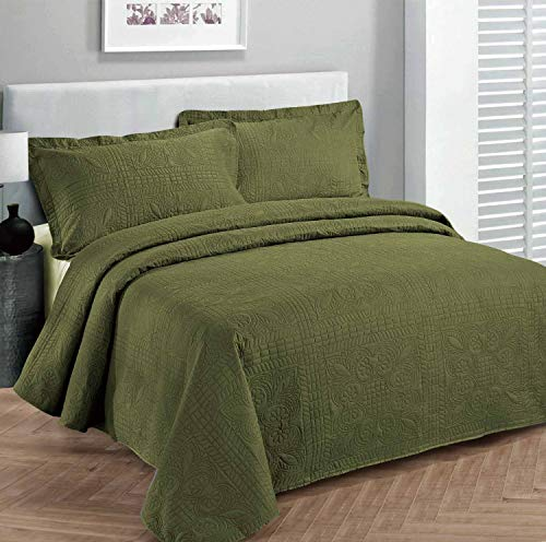Fancy Collection 2pc Luxury Bedspread Coverlet Embossed Bed Cover Solid Olive Green New Over Size Twin/twin Xl