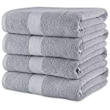 Maura Premium 100% Cotton 27x54 Ultra Absorbent Quick Dry 4 Pack Soft Terry Bath Towels Set for Bathroom, Hotel and Spa Quality. (Bath Towel - Set of 4, Cool Grey)