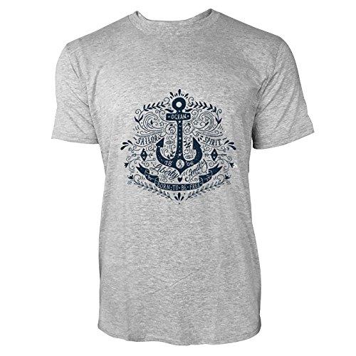 SINUS ART® Kultiger Anker mit Born To Be Free Aufschrift Herren T-Shirts in hellgrau Fun Shirt mit tollen Aufdruck