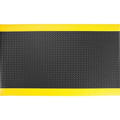 "AmazonBasics Anti-Fatigue Mat Diamond Deckplate Single-Layer Foam 1/2"", 3x5 Black/Yellow"