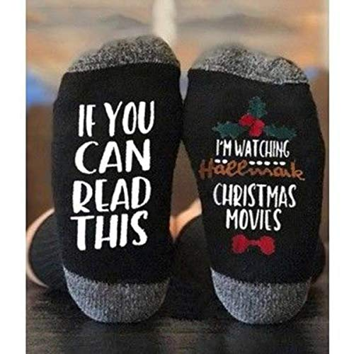 Spuruth 1Pair Hallmark Movies Soft Socks Christmas Letters Printed Women Winter Warm Socks Gifts (Black Flower)
