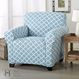 Brenna Collection Basic Strapless Slipcover. Form Fit, Slip Resistant, Stylish Furniture Shield / Protector Featuring Lightweight Twill Fabric. By Home Fashion Designs Brand. (Chair, Blue)