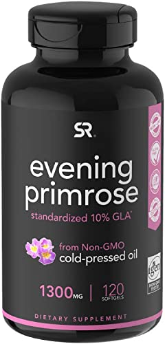 Evening Primrose Oil 1300mg 120 Liquid Softgels Cold-Pressed with No fillers or Artificial Ingredients Non-GMO Gluten Free