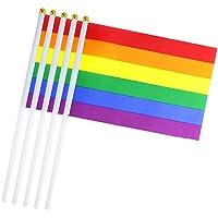 DierCosy Rainbow Palo de la Bandera 10PCS / Paquete LGTB Orgullo Gay Mano Que agitan Banderas