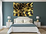 iPrint Polyester Tapestry Wall Hanging,Poker Tournament Decorations,Gold and Black Poker Chips Gambling Club Currency Stack Wager Decorative,Gold Black,Wall Decor for Bedroom Living Room Dorm