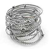 Everdream 50 pcs Stainless Steel Adjustable Braided Twisted Wire Blank Bangle Bracelet 3 Loops Wrap Expandable 2.4 inches