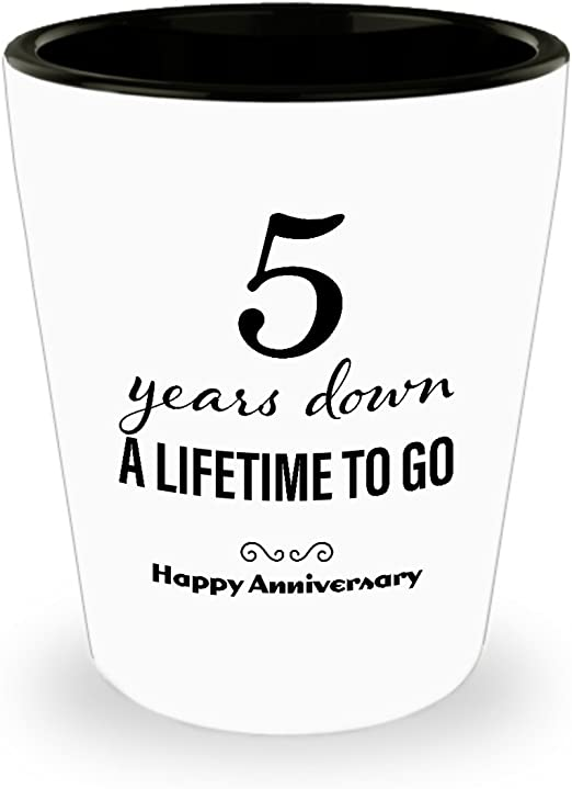 Amazon Com 5th Anniversary Gifts For Her Shot Glass Wedding Anniversary Gifts For Her 5 Years Down Unique Cute For Girlfriend Wife Women Friend Marriage Shot Glasses