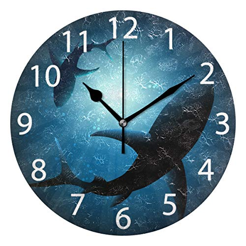- senya Sharks Under Water Round Wall Clock, Silent Non Ticking Oil Painting Decorative for Home Office School Clock Art
