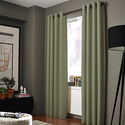 Gorgeous Home LINEN Midwest (WC86) Different Colors and Sizes1 Panel Drape Window Treatment Curtain Thermal Insulated White Coating Blackout Antique Grommets Solid Color (95