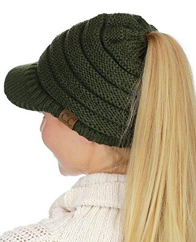 C.C BeanieTail Warm Knit Messy High Bun Ponytail Visor Beanie Cap, Dark Olive