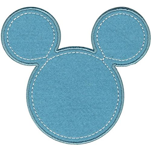 Wrights Disney Mickey Mouse Mickey Silhouette Iron-On Applique, Blue Disney Iron On Appliques