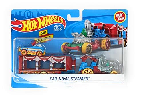 Hot Wheels 2018 Car-Nival Steamer Vehicle w/ Detachable Trailer & Pedal Car ()