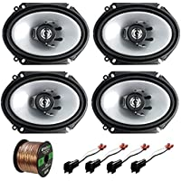 2 Pair Car Speaker Combo Of 4x Kenwood KFC-C6865S 6x8 250 Watt 2-Way Stereo Coaxial Speaker Bundle With 2x Metra 72-5600 Speaker Connector for Ford Vehicles + Enrock 50ft 16g Speaker Wire