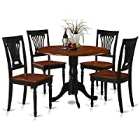 East West Furniture DLPL5-BCH-W 5-Piece Kitchen Table and Chairs Set, Black/Cherry Finish
