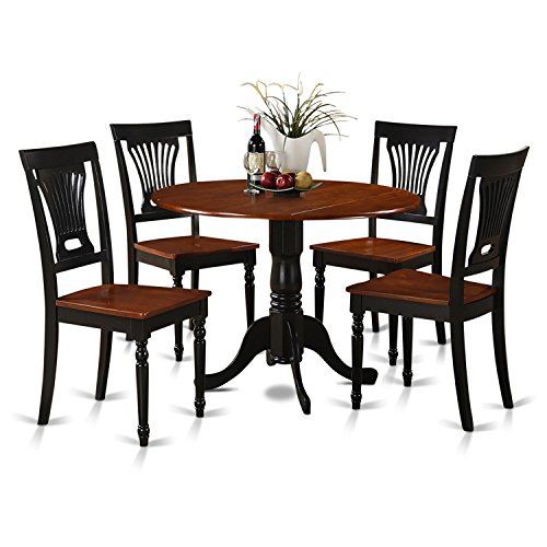 5 Piece Cherry Finish Wood - East West Furniture DLPL5-BCH-W 5-Piece Kitchen Table and Chairs Set, Black/Cherry Finish, Buttermilk