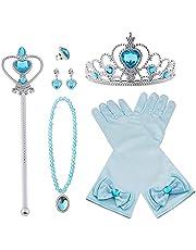 Vicloon Elsa Princess Costumes Set van 8 stuks geschenk van Princess Crown, handschoenen, toverstaf, ketting, ring, oorbellen voor 3-9 jaar