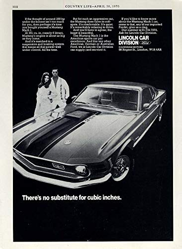 There's no substitute for cubic inches Ford Mustang Mach I 351 ad 1970