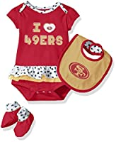 "NFL Girls Newborn ""Team Love"" Onesie, Bib & Bootsies"