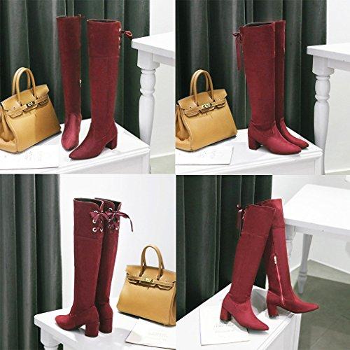 Chaussures Casual Suède Longues Mi Femme Hiver B Rouge Mid Minetom Lacets Boots Unie Classiques bas Couleur Bloc Bottes Talons Automne Mode awz8wq0x54