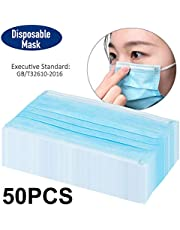 Mainstayae 50PCS Disposable Face Mask Adaptable Nose Bar 3-Layer Protective Face Mask Soft Breathable Non-woven Fabric Earloop Mouth Face Mask Protection against Dust Particles Pollution