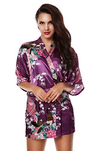 Teamyy Ropa de Dormir de Satén Mujer Suelta 3/4 Manga Estilo Kimono Vestido de Raso Impresión Floral púrpura oscura