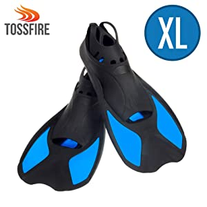 """TOSSFIRE Snorkeling Fins Short Floating Training Swimming Fins for US Size XL Width Ankle 3.3"""" with Thermoplastic Rubber Travel Fins for Swimming Scuba Diving Snorkeling Watersports, Blue"""