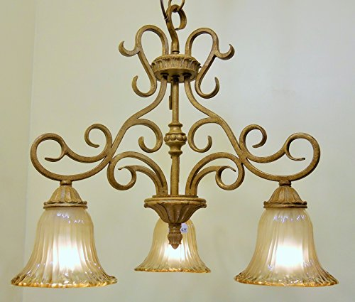 Golden Brulee Finish Scrolled Metal Pendant Chandelier Light Etched Glass ()