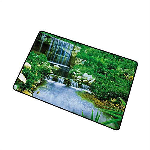 Becky W Carr Nature Commercial Grade Entrance mat Waterfall Flowing Down The Rocks Foliage Cascade in Forest Valley Image for entrances, garages, patios W15.7 x L23.6 Inch,Fern Green Pale Blue