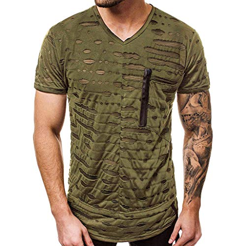 MILIMIEYIK Mens Casual Short Sleeve Slim Fit T-Shirt Bodybuilding Muscle Fitness Tee Tops Army Green